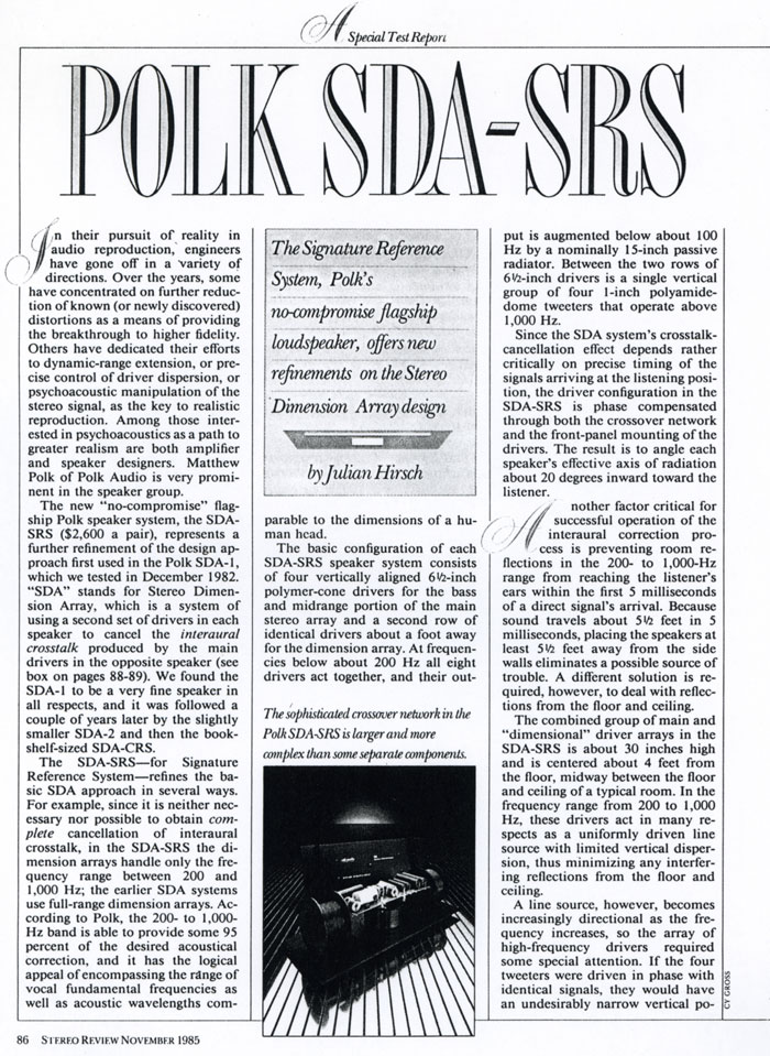 1985 Review of Polk Audio SDA-SRS page 1