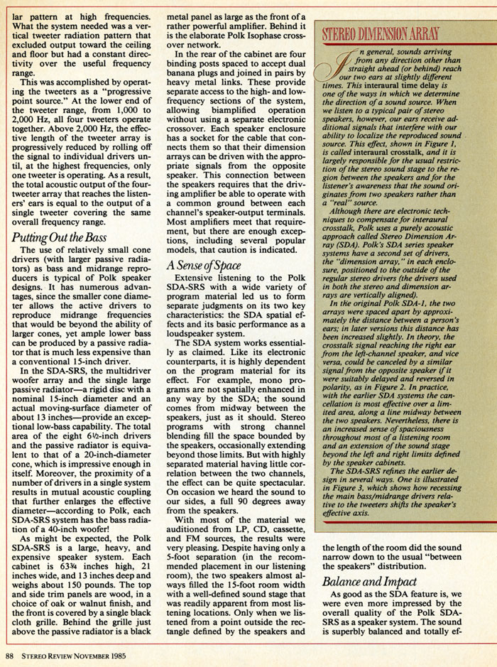 1985 Review of Polk Audio SDA-SRS page 3