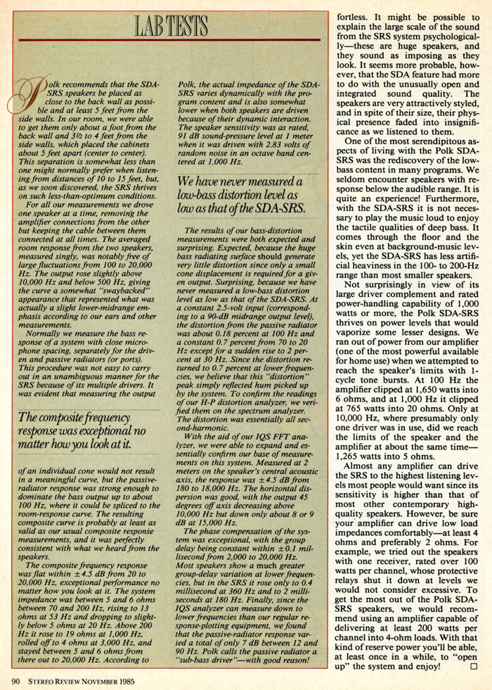 1985 Review of Polk Audio SDA-SRS page 5